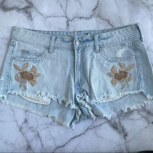 Abercrombie & Fitch embroidered cutoff jean shorts